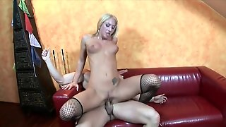 Tall Chick In Fishnets Rides His Cock Erotically