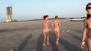Group Party Teens Nude On The Beach