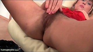Sexy Red Lingerie On Masturbating Milf Blonde