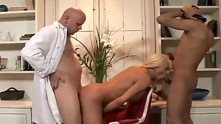 Blond Transsexual Nurse Gets Double Fucked