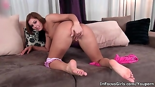 Horny Brunette Slut Strips And Rubs Her Pussy
