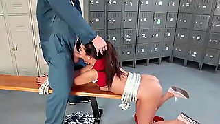 School Cleaner Stumbles Upon Hogtied Schoolgirl & Fucks Her Pussy