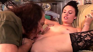 Short Haired Brunette In Stockings Gets Fucked In Reality Old And Young Clip