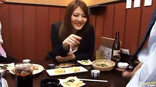 Momoka Nishina Has Meal With Colleagues, And Gets A Faceful Of Cum