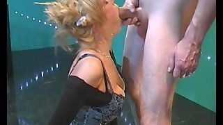 Two Guys Fuck A Cumcovered Blonde In German Orgy