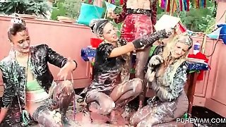 Fancy Lesbos Fighting With Messy Cream At An Orgy
