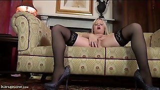 Stockings And Heels Are Hot On A Solo Blonde