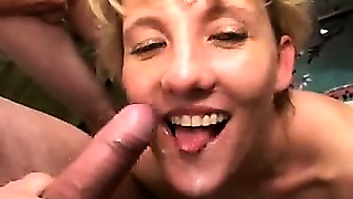 Milf Gets Group-Facialized