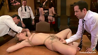 Small Tits, Bdsm, Reality, Brunette, Tied Up, Sex Slave, Milf, Orgy, On Table, Mask, Fingering