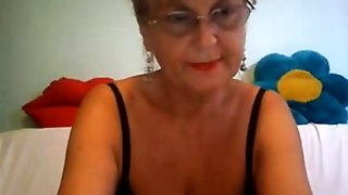 Busty Mature Blonde With Glasses Masturbating