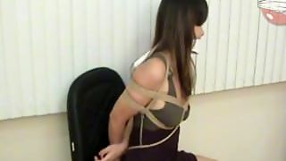 Hot Latina Tied To Chair In Sexy Dress