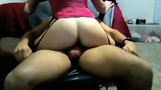Girl With Stockings Rides Her Bf On A Chair, Until He Cums Inside Her.