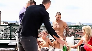Cock Sucking Orgy On Roof