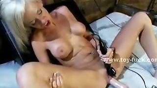 Delicious Busty Brunette Wakes Up With Huge Electric Fucking Mach