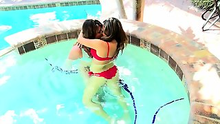 Lesbian Teen Fingering On The Bed