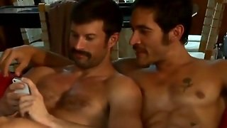 Mustached Bfs Invite Friend For Gay Threesome