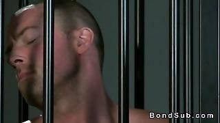 Muscled Tied Up Man Licking Pussy Of Mistress
