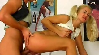 European Pigtailed Girl Takes It