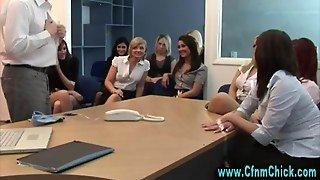 Fetish Office Femdoms Make Subject Strip