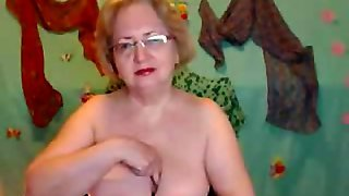 Charming Busty Granny Rubbing Her Pussy
