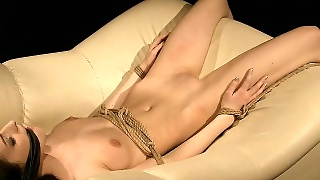 Striking Brunette Girl With Perky Tits Gets Tied Up And Pounded Hard