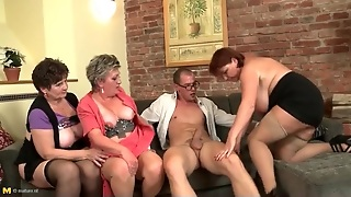 Young Dick Fucks A Trio Of Fat Matures