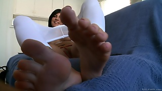 Foot Fetish Maiden With Fake Tits Doing Her Tease Using Toys