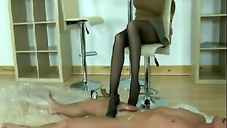 Seductive Hose Footjob And Blow Job