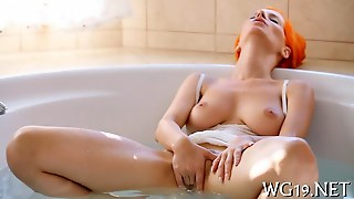 Redhead Babe Fingers Her Tight Pussy In Bath
