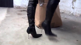 High Heels High Leather Boots Whipping