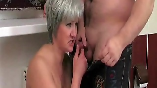 Rough Sex In The Bathroom With A Kinky Granny