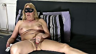 Blonde Mature Shows Hairy Pussy