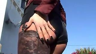 Satin  Mature In Satin An Pantyhose Outdoor