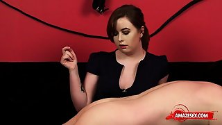 Brunette Amateur Ballbusting With Cumshot