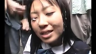 Japanese Beauty Gets A Bukkake  In Public