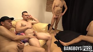 Deviant Twinks In Masks Have An Ass Fucking Gangbang Party