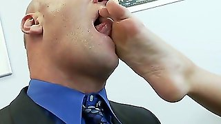 Busty Blond Secretary Made Her Perverted Boss Lick Her Feet And Pussy On The Office Desk