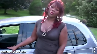 Chubby Black Shemale Shakes Massive Ass And Jerks Shecock