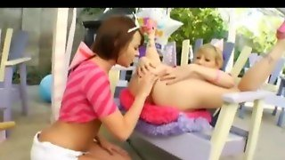 Outdoor Teenie Lesbians Anal Playing