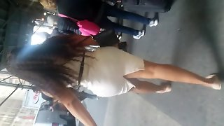 White Tight Dress Bubble Milf Butt Latina