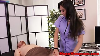 Dom Mean Masseuse Withholding Orgasm From Sub