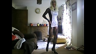 White Mini Dress And Cock