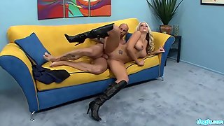 Sexy Boots On A Blonde Slut Taking His Dick