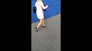 #80 Blonde Girl With Sexy Legs In Mini Skirt And High Heels