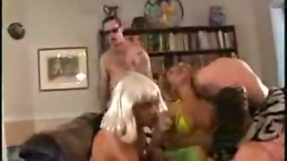 Group Madness With A Blond Shemale