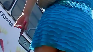 Golden-Haired In Blue Upskirts