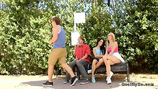 Lesbians Tribbing On The Bench Outdoor
