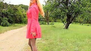 Outdoor Tease With Babe In Nylons
