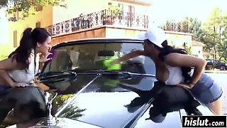Naughty Girls Wash An Expensive Car