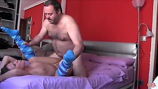 Young Pussy Gets A Creampie From The Fat Guy